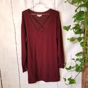 Inspired hearts cross front oversized long pullove